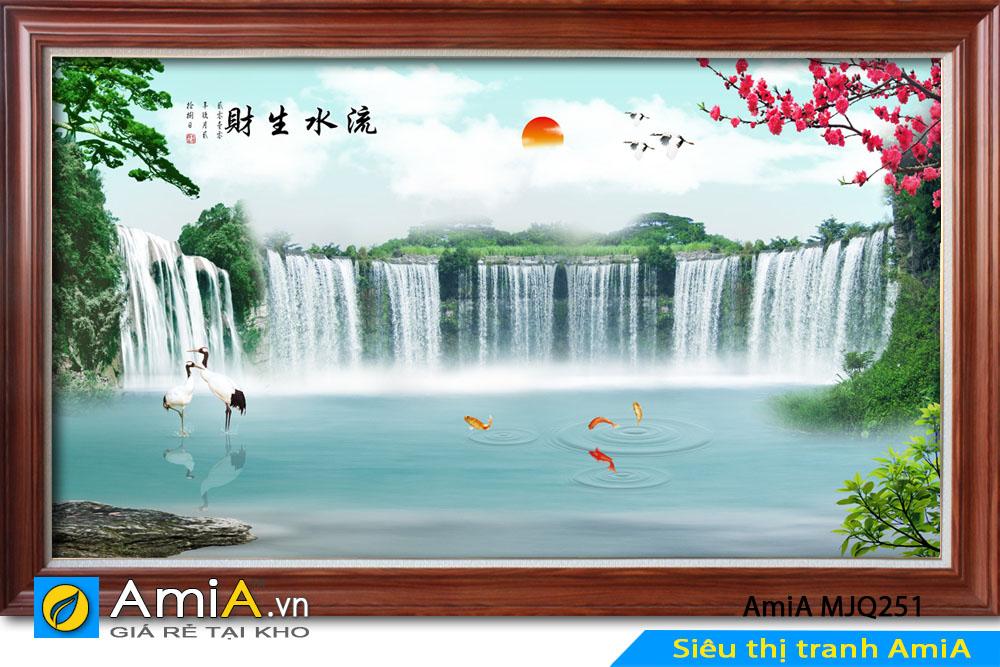 tranh phong thủy mặt trời và thác nước
