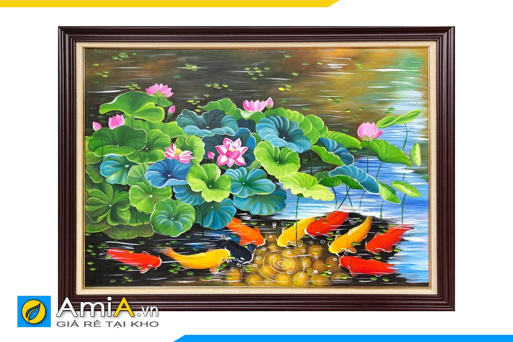 bức tranh đẹp vẽ cá chép hoa sen
