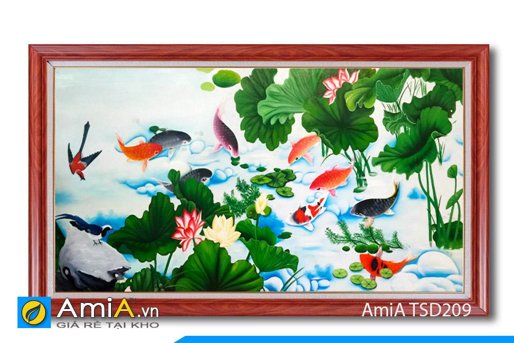 tranh sơn dầu vẽ cá chép hoa sen cửu ngư