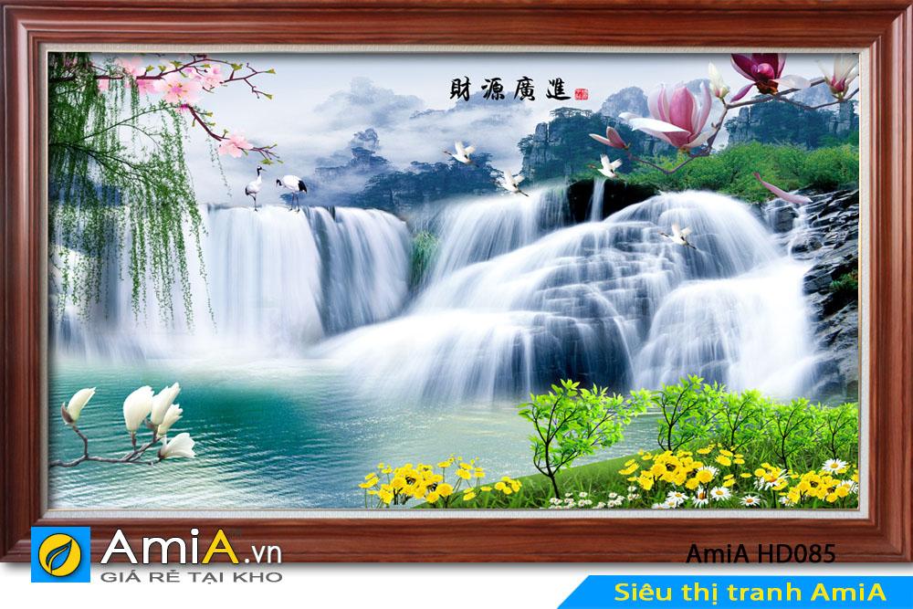 Tranh thác nước ghép thêm các loài hoa