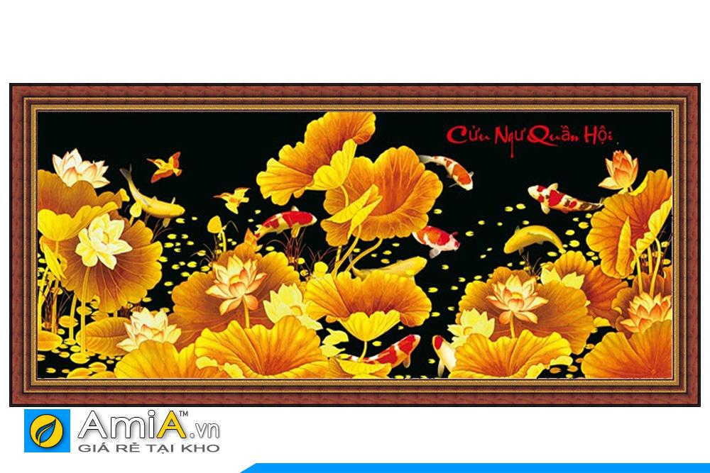 tranh thêu cá chép hoa sen đẹp