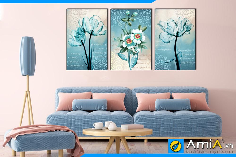 tranh bộ canvas hoa treo tường phòng khách hiện đại AmiA 1849