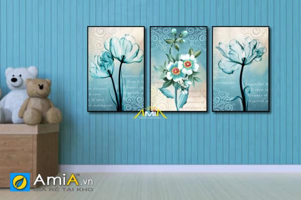 bộ tranh hoa đẹp tông màu xanh