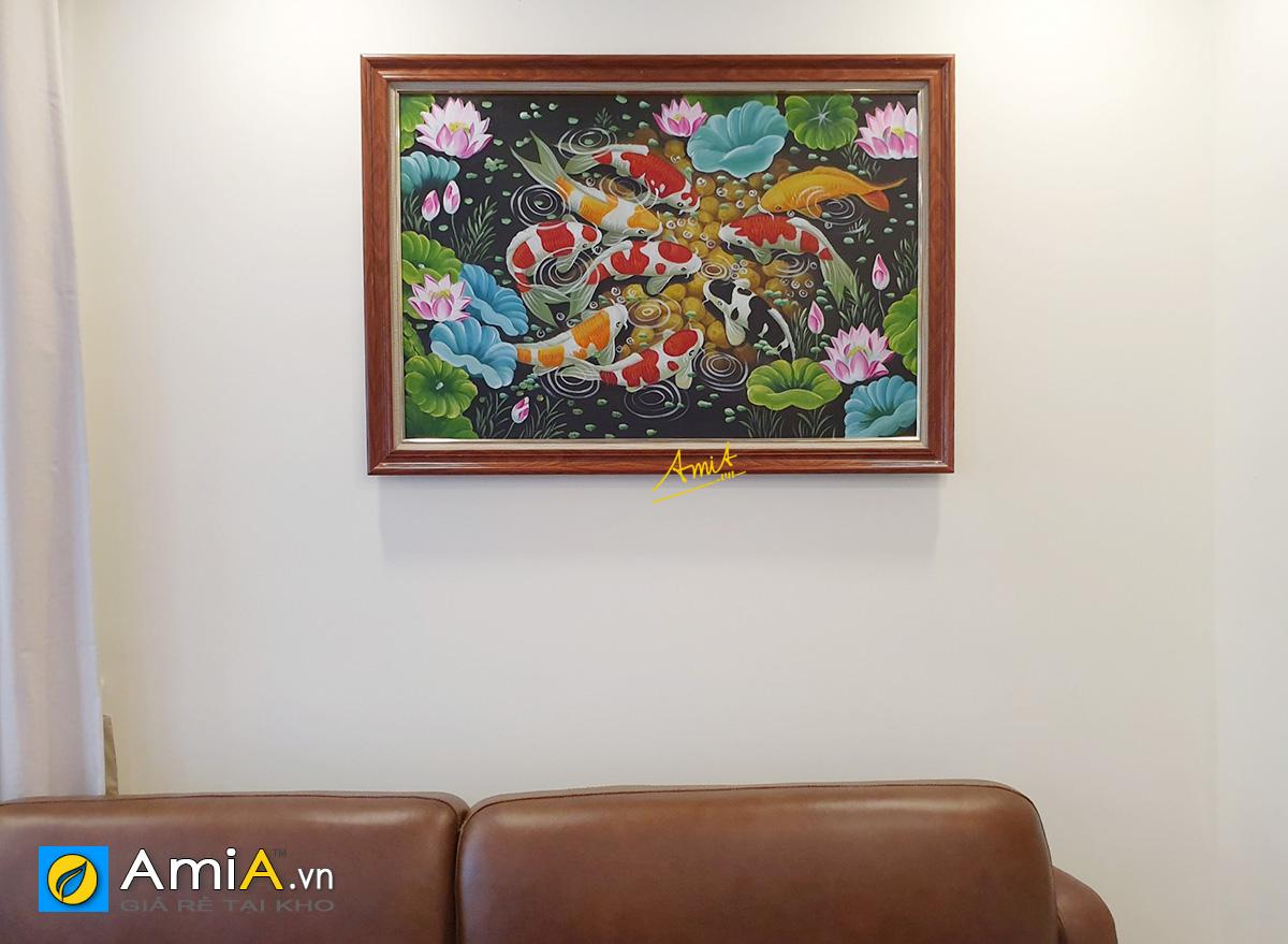 Hình ảnh Tranh treo tường cửu ngư quần hội vẽ sơn dầu 1 tấm mã TSD 565