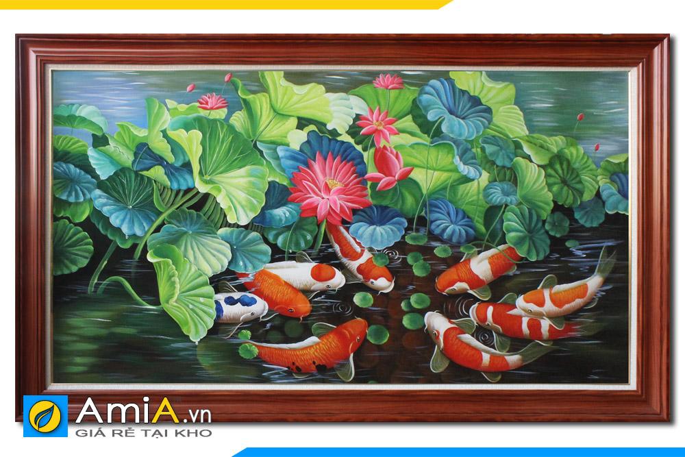 tranh đẹp vẽ cá chép hoa sen