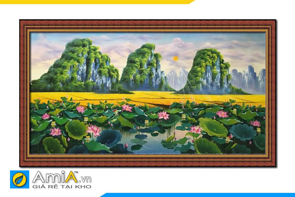 tranh vẽ phong cảnh đồng quê hoa sen