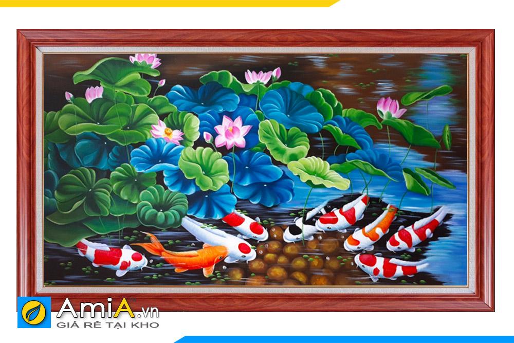 tranh hoa sen cá chép vẽ sơn dầu