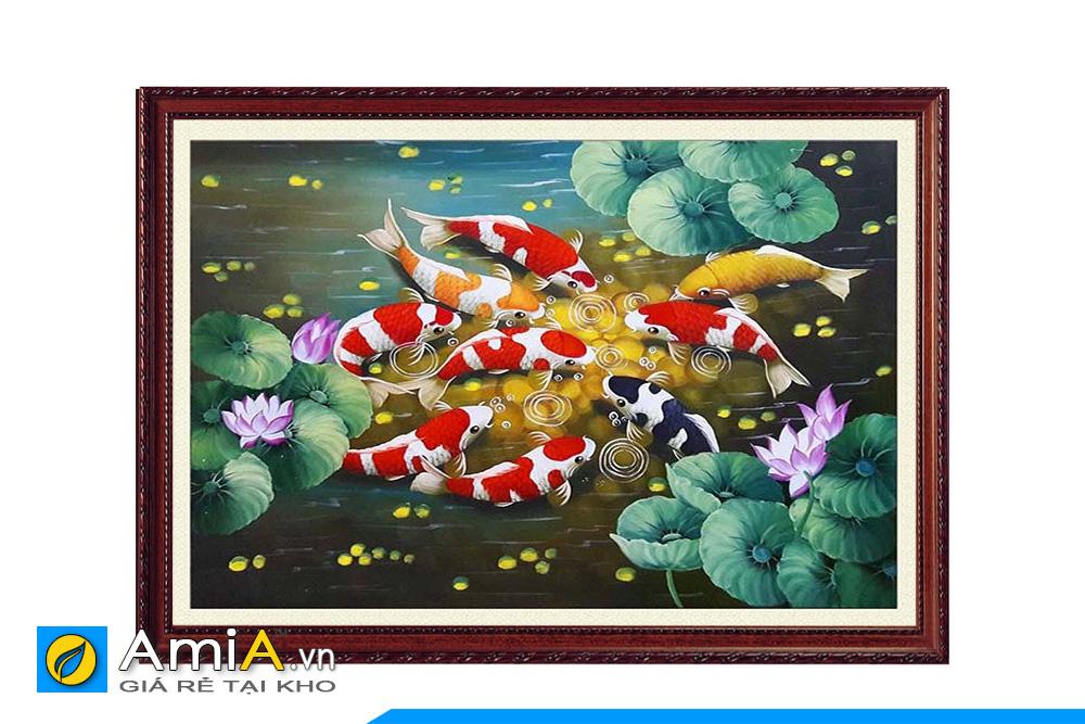 tranh cá chép hoa sen sơn dầu