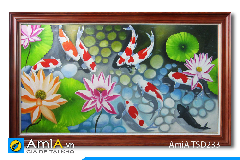 tranh vẽ sơn dầu cá chép hoa sen