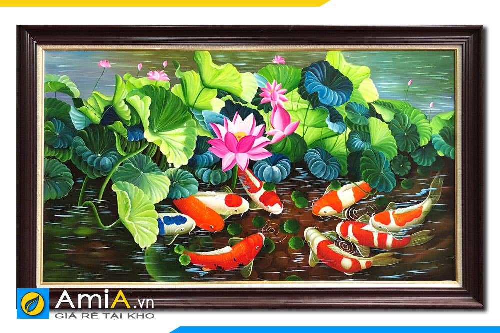 tranh phong thủy cá chép hoa sen