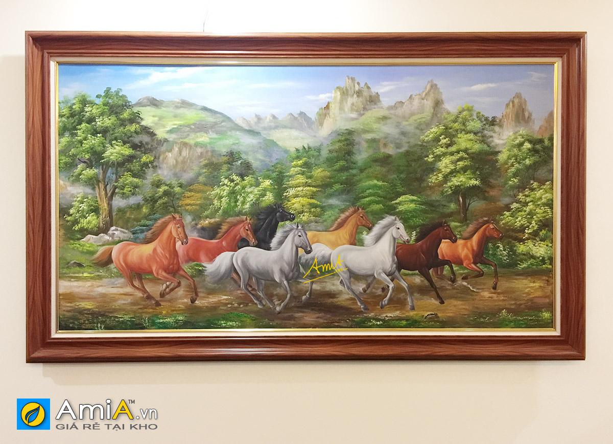 Hình ảnh Tranh vẽ sơn dầu mã đáo thành công treo tường đẹp