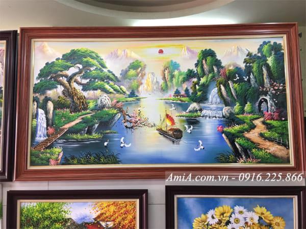 Tranh vẽ sơn dầu phong cảnh sông núi thuyền buồm tại cửa hàng tranh AmiA