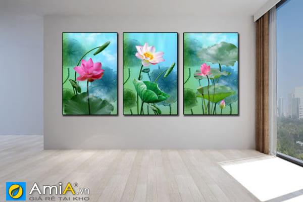 Tranh bộ canvas hoa sen đẹp treo tường AmiA 1865