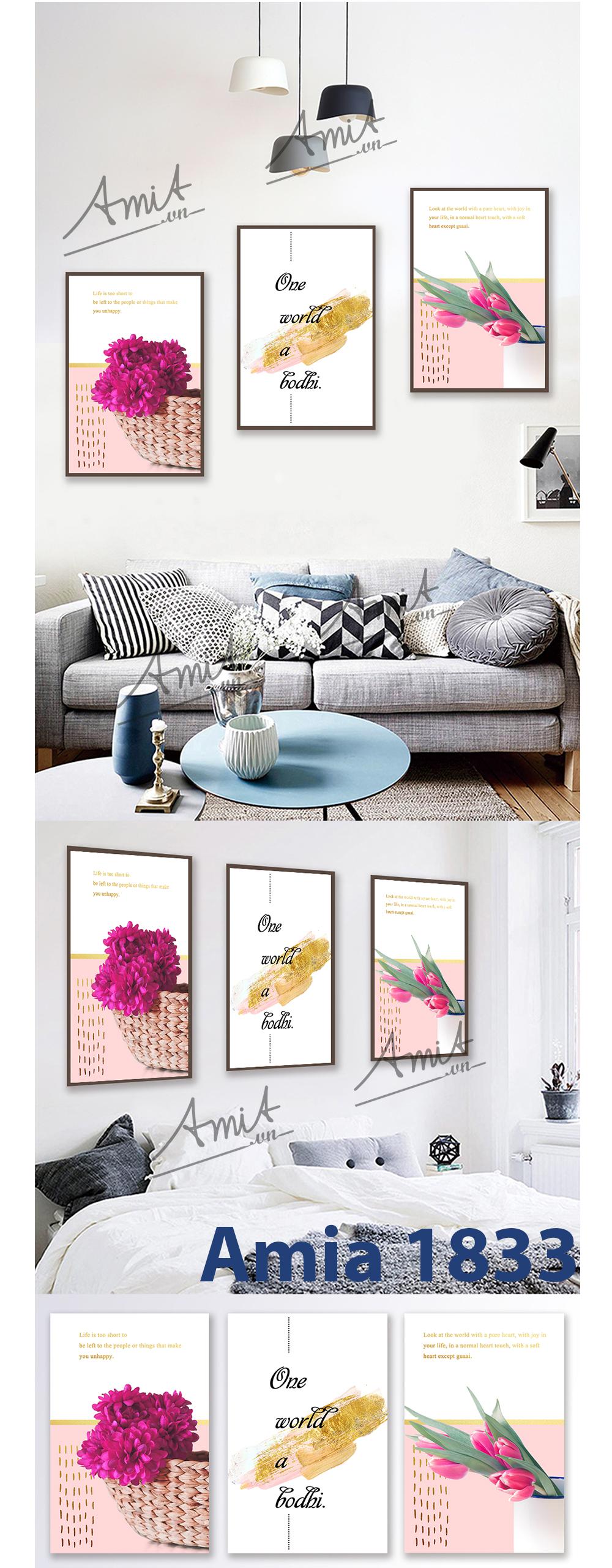Bộ tranh 3 tấm in canvas cho phòng ngủ thêm ấm áp