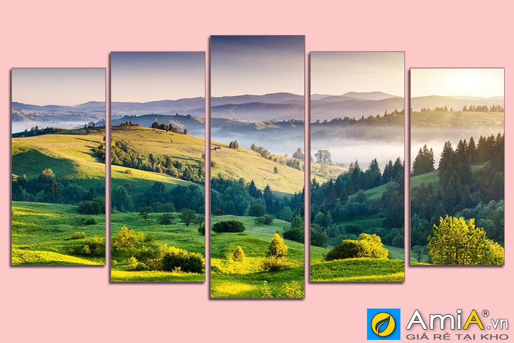 Tranh ghép bộ 5 tấm hiện đại phong cảnh đồi núi đẹp amia sht 130505714