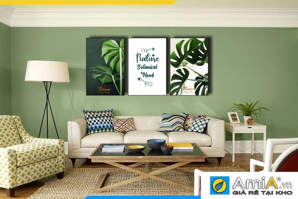 Tranh bộ canvas lá cây nhiệt đới màu xanh treo tường phòng khách hiện đại AmiA 1856