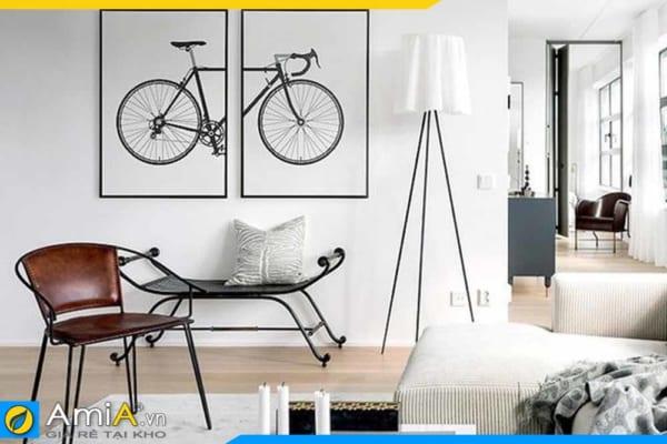 Tranh bộ canvas xe đạp treo tường phòng khách hiện đại AmiA 1831