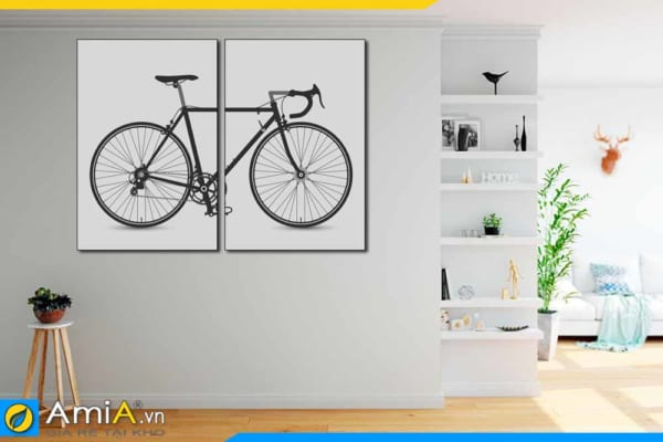 Tranh treo tường phòng ngủ bộ canvas xe đạp 2 tấm AmiA 1831