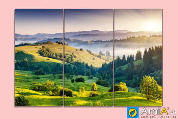 Tranh phong cảnh đồi núi đẹp ghép bộ 3 tấm theo yêu cầu amia sht130505714