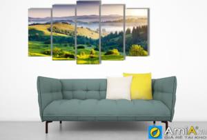 Tranh treo tường phòng khách hiện đại phong cảnh đồi núi ghép bộ AmiA sht 130505714