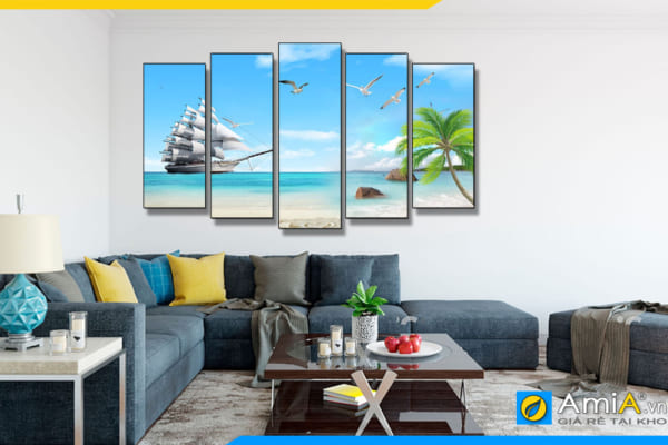 Tranh phong cảnh thuyền và biển ghép bộ hiện đại treo tường phòng khách đẹp AmiA TBXG01