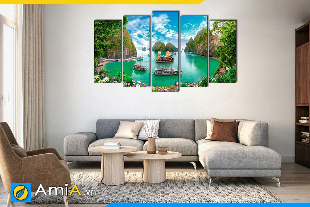Tranh ghép bộ phong cảnh biển treo tường phòng khách hiện đại AmiA 1850