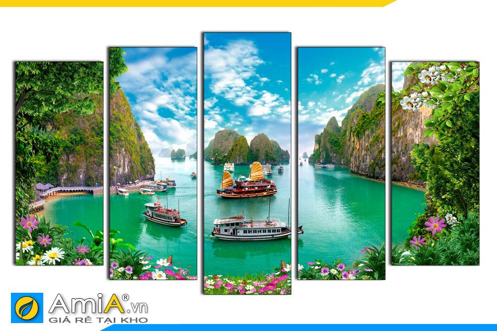 Tranh phong cảnh biển Hạ Long ghép bộ hiện đại AmiA 1850