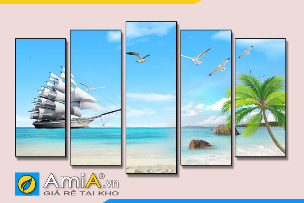 Tranh thuận buồm xuôi gió ghép bộ hiện đại AmiA TBXG01