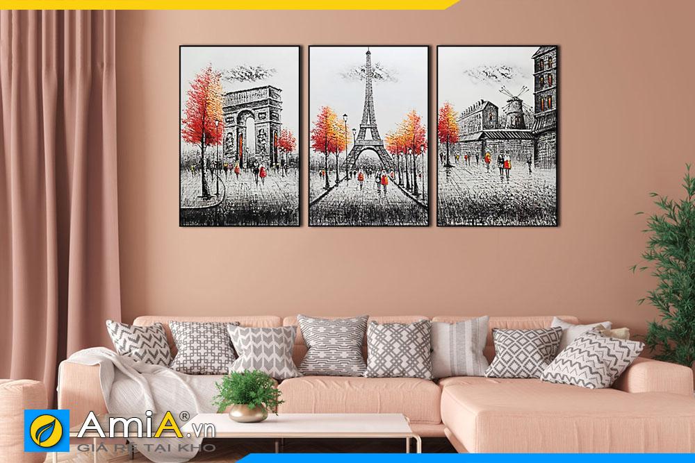 Tranh canvas phong cảnh nước ngoài treo tường phòng khách hiện đại AmiA 1852