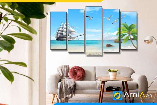 Tranh treo tường phòng khách hiện đại thuận buồm xuôi gió gam màu xanh nhẹ nhàng, mát mẻ AmiA TBXG01