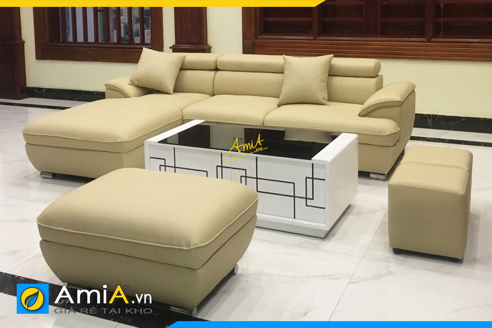 Hình ảnh ghế sofa da đẹp AmiA 094B