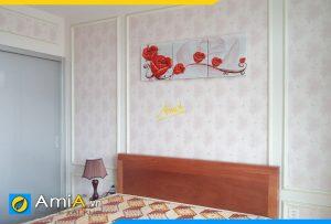Hình ảnh Bộ tranh hoa hồng 3D trang trí phòng ngủ đẹp hiện đại AmiA 1234