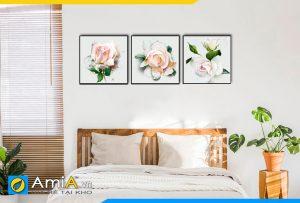 Hình ảnh Bộ tranh hoa hồng đẹp cho phòng ngủ lãng mạn AmiA 1498