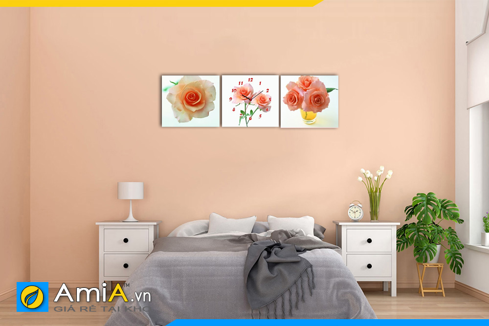 Hình ảnh Bộ tranh hoa hồng đồng hồ treo phòng ngủ đẹp tiện lợi AmiA 1131