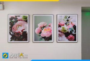 Hình ảnh Bộ tranh hoa hồng Pháp treo tường phòng ngủ đẹp hiện đại AmiA 1677