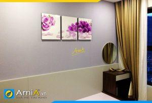 Hình ảnh Bộ tranh hoa hồng tím ghép 3 tấm trang trí phòng ngủ AmiA 451