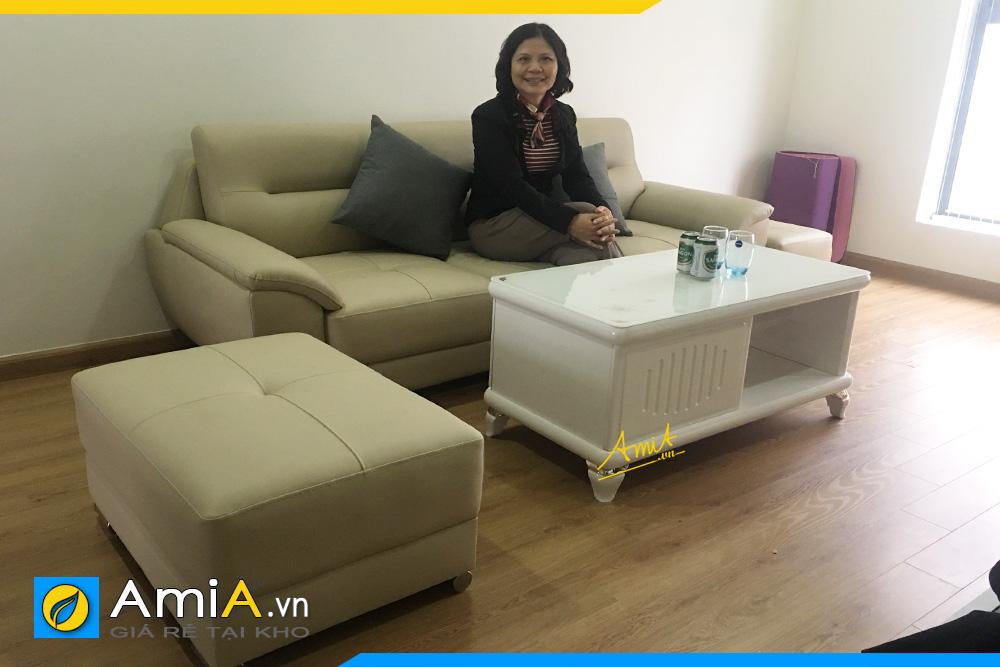 Bộ ghế sofa văng da nhỏ xinh AmiA 237B