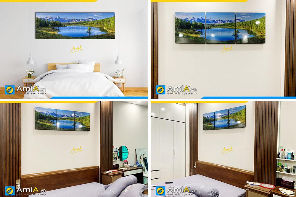Hình ảnh Mẫu tranh phong cảnh đẹp trang trí đầu giường ngủ ghép 3 tấm