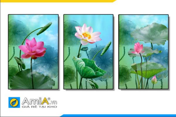Tranh bộ canvas hoa sen hồng ghép bộ 3 tấm AmIA 1865