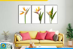 Tranh bộ canvas hoa thiên điểu treo tường phòng khách hiện đại AmiA 1846