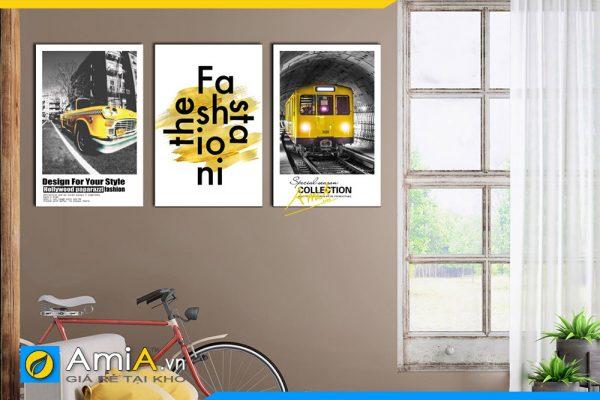 Hình ảnh Tranh canvas màu vàng cho phòng ngủ chủ đề phong cảnh AmiA 1713