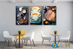 Tranh đồng hồ đẹp bộ 3 tấm treo tường quán cafe AmiA 1866