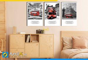 Hình ảnh Tranh phong cảnh đẹp hiện đại ghép 3 tấm trang trí phòng ngủ AmiA 1717