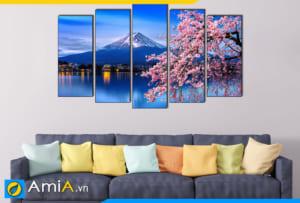 Tranh ghép bộ phong cảnh hoa anh đào và núi phú sĩ Nhật Bản treo tường phòng khách hiện đại AmiA 1847
