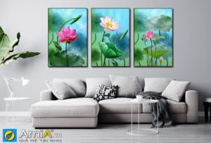 Tranh treo tường phòng khách hiện đại hoa sen hồng AmiA 1865