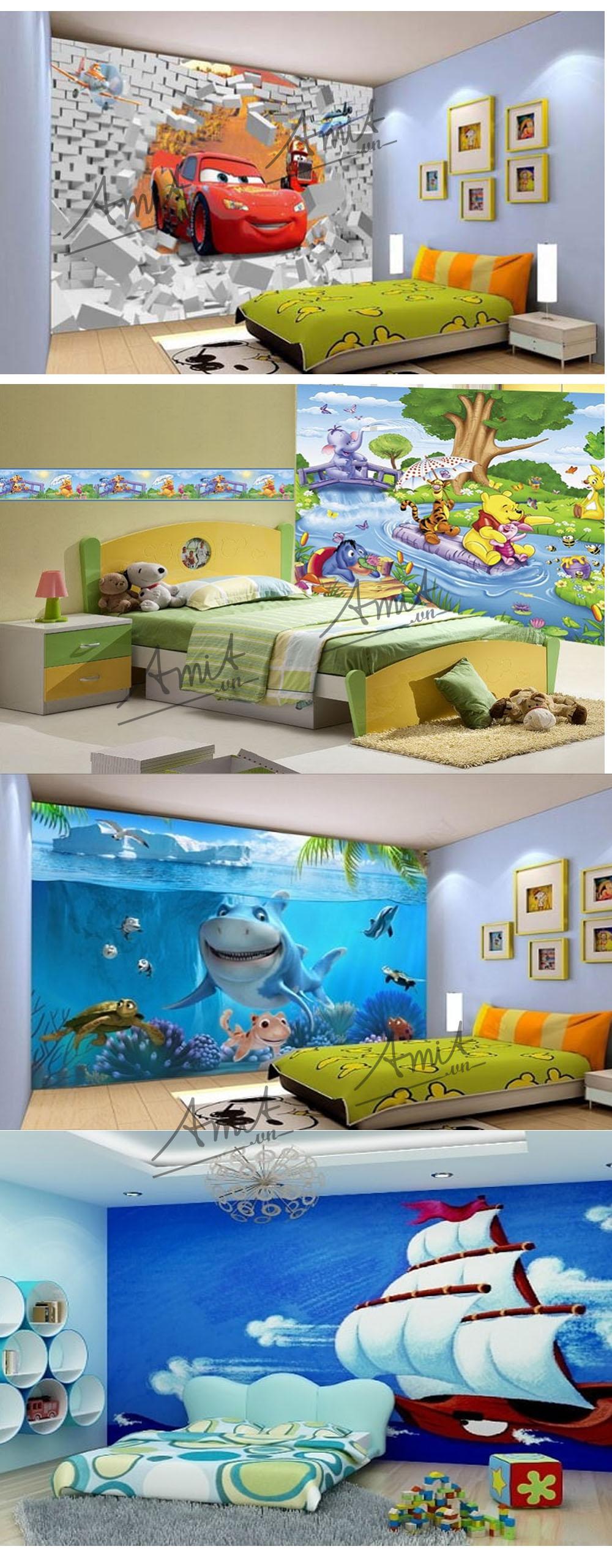 Tranh vẽ tường phòng bé trai là những hình ảnh bé yêu thích, những thú vui, màu sắc tươi sáng, thông minh, dí dỏm