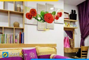 Hình ảnh Tranh treo tường phòng ngủ đẹp lãng mạn hoa hồng tình yêu AmiA 883