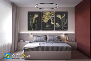 Tranh bộ canvas lá cây treo tường phòng ngủ Amia 1857