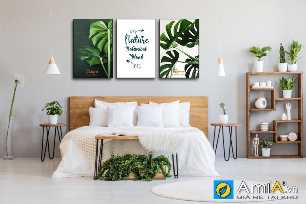 Trang trang trí phòng ngủ hiện đại lá cây nhiệt đới gam màu xanh mát mẻ AmiA 1856