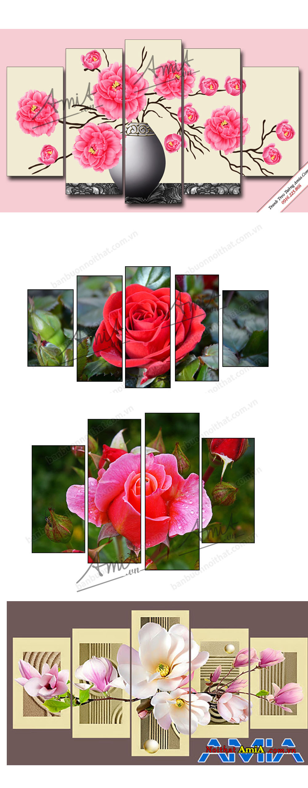 Tranh hoa hồng mang màu sắc lãng mạn thích hợp cho phòng ngủ nữ hoặc phòng vợ chồng son
